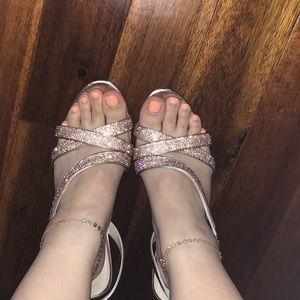 Rose gold rhinestone high heels
